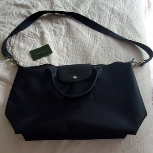 Like new le pliage neo top handle tote navy
